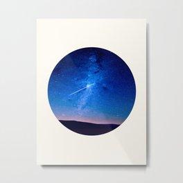 Mid Century Modern Round Circle Photo Graphic Design Shooting Star Blue Nebula Galaxy In The Sky Metal Print