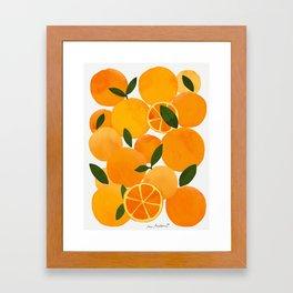 mediterranean oranges still life  Framed Art Print