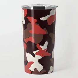 Red camo camouflage army pattern Travel Mug
