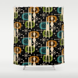 Retro Atomic Mid Century Pattern Black Orange Green And Turquoise Shower Curtain