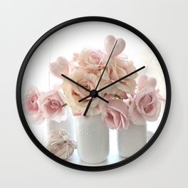 Shabby Chic Peach Pink White Pastel Roses White Vases Wall Clock