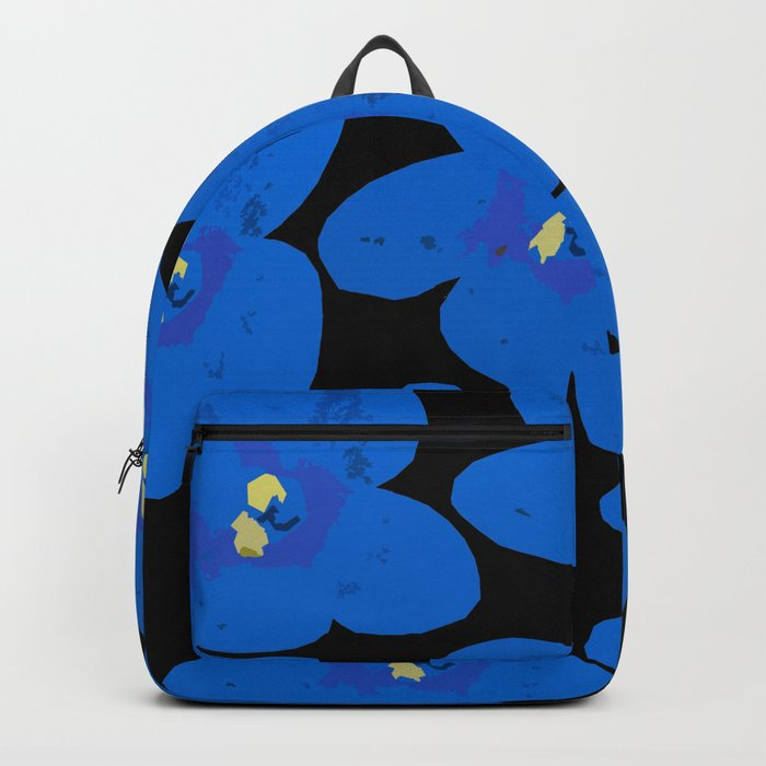 Blue Retro Flowers on Black Background #decor #society6 Backpack