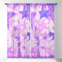 Glowing purple and pink stars on a light background in projection and with depth. Sheer Curtain