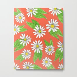 daisies on a bright warm pink Metal Print