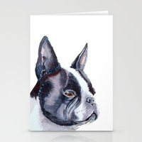 boston terrier Stationery Cards featuring Boston terrier by Doggyshop