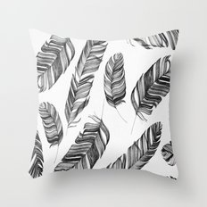 Black and white feathers Throw Pillow
