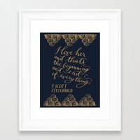 fitzgerald Framed Art Prints featuring F. Scott Fitzgerald Quote by imkellycummings