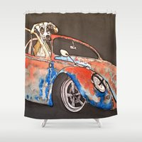great dane Shower Curtains featuring Great Dane with his ride. by Stewart S