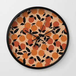 Seamless Citrus Pattern / Oranges Wall Clock