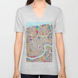 New Orleans Street Map Unisex V-Neck