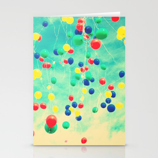 Let your wishes fly (Colour balloons in vintage - retro turquoise sky) Stationery Cards
