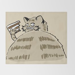 Fat Cat Wants Treats Throw Blanket