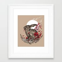 hare Framed Art Prints featuring Hare by Rachael Smart