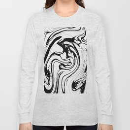 Black, White and Graphic Paint Swirl Pattern Effect Long Sleeve T-shirt