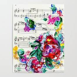 Musical Beauty - Floral Abstract - Piano Notes Poster