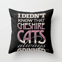 cheshire Throw Pillows featuring Cheshire Cats by Tom Davie