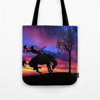 cowboy Tote Bags featuring Cowboy by Laureenr