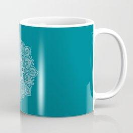 Flower Mandala in White on Elegant Teal Coffee Mug