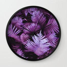 Purple Pink Stem Leaves Wall Clock