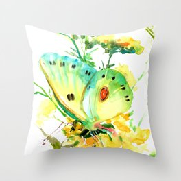 Butterfly, yellow turquoise floral butterfly home decor Throw Pillow