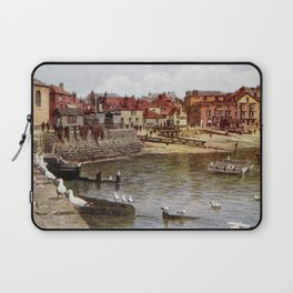 Aquarelle St Ives Cornwall Seagulls in the harbour Laptop Sleeve