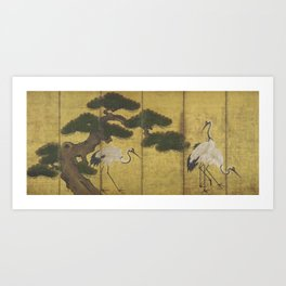 Japanese Red Crowned Crane Edo Jidai Gold Screen Print Art Print