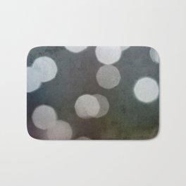 Charcoal Gray and Cream Bokeh Dots Pattern Bath Mat