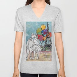 Kissing in Paris Unisex V-Neck