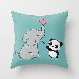 Kawaii Cute Elephant and Panda Throw Pillow