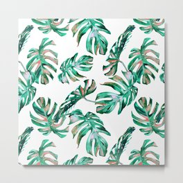 Green Coral Palm Leaves Metal Print