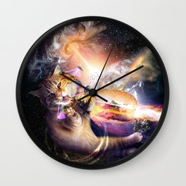 Galaxy Space Cat Reaching Burger With Laser Wall Clock