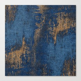 NAVY BLUE AND GOLD PATTERN Canvas Print