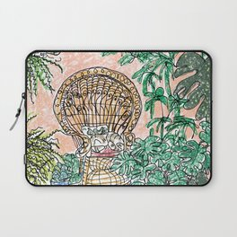 Tropical Coral Jungle Room with Sleeping Cat Laptop Sleeve