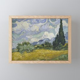 Wheatfield with Cypresses Framed Mini Art Print