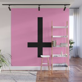 Inverted Cross on Pink Wall Mural