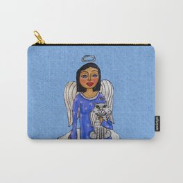 Peaceful Folk Art Angel White Cat Angel Sky on Cloud Blue Carry-All Pouch