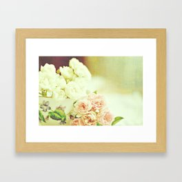 Roses and teacup Framed Art Print