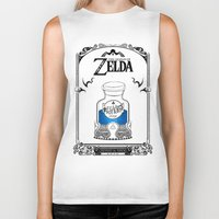 majora Biker Tanks featuring Zelda legend - Blue potion  by Art & Be
