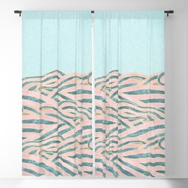Venetian Waves // Vintage Abstract Pink Blue and Gold Summer Illustration Digital Beach Wall Decor Blackout Curtain