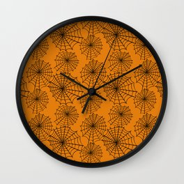 Black orange hand painted halloween spider web pattern Wall Clock
