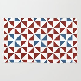 Pinwheel Quilt Pattern in Red and Blue Rug