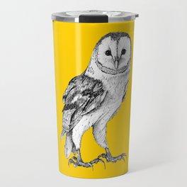 Barn Owl - Drawing In Black Pen On Vintage Yellow Travel Mug