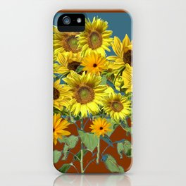 COFFEE BROWN-TEAL SUNFLOWER FIELD iPhone Case