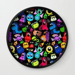 Little Monsters- Black Wall Clock