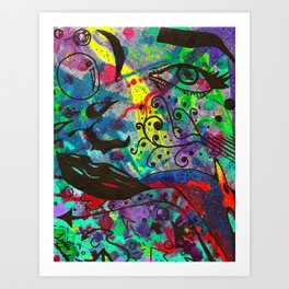 Traditional Abstract Watercolor and Ink Cardinal Art Print