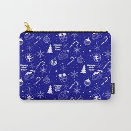 New Year Christmas winter holidays pattern with gifts, candys, christmas tree and toys, santa hat, s Carry-All Pouch