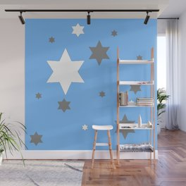 SIMPLY GREY & WHITE STARS ON BABY BLUE DESIGN Wall Mural