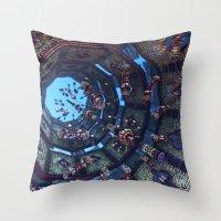 arabic Throw Pillows featuring arabic fractal by erosione