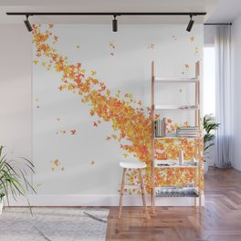 Maple Leaves on White Wall Mural