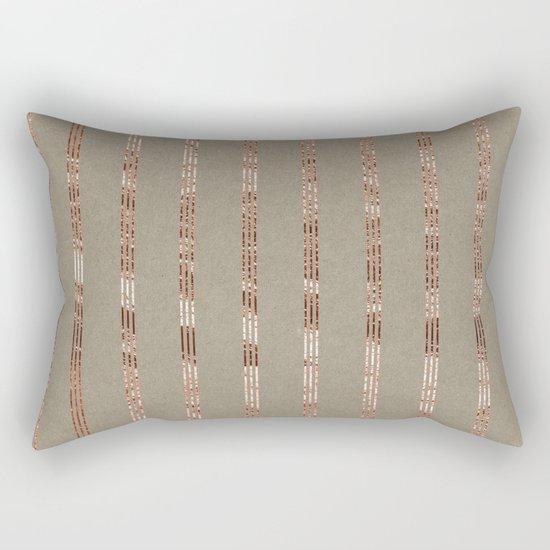 Rose gold stripes on natural grain Rectangular Pillow